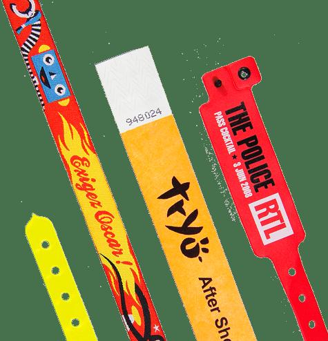 Bracelets à fermeture définitive en Tyvek, vinyle ou tissés pour vos accréditationss