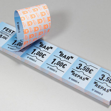 Ticket de restauration ou tickets bar en bandes numérotés - Oscar Productions Nantes billetterie et gestion d'accès sécurisée