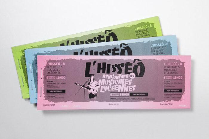 Billetterie de spectacle et d'évènements numérotée et imprimée en noir sur fond de papier sécurisé