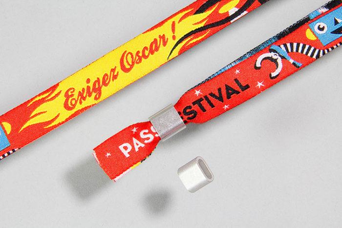Bracelets tissés en tissu femeture bague en aluminium - Oscar Productions Nantes billetterie et gestion d'accès sécurisée