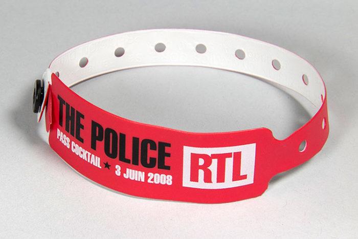 bracelet vinyle à fermeture définitive imprimé en sérigraphie - Oscar Productions Nantes billetterie et gestion d'accès sécurisée