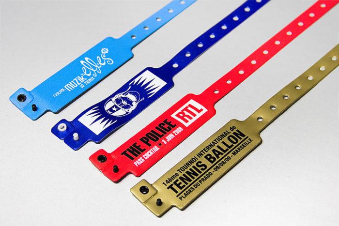 Bracelet vinyles imprimés en 1 ou 2 couleurs sérigraphie - Oscar Productions Nantes billetterie et gestion d'accès sécurisée