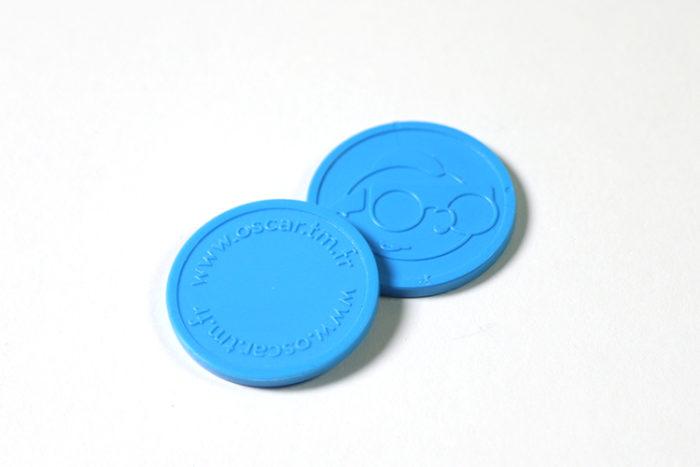 Jetons plastique gravés bleu