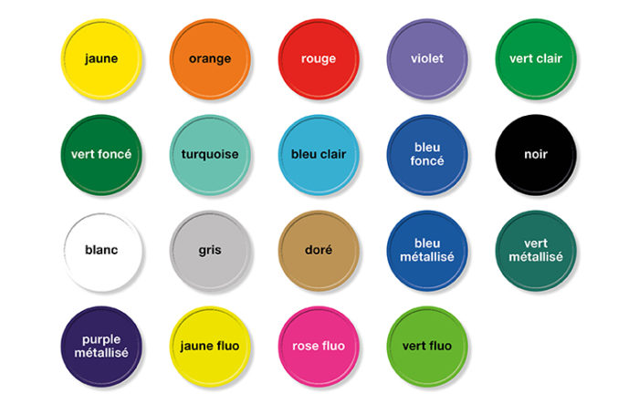 Jetons gravés-gamme couleurs
