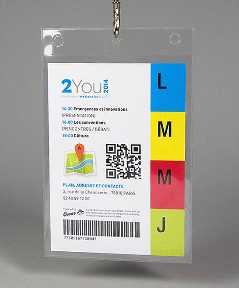 Imression de variables sur carte bristol A6 avec pochette - Planning, Plan, QR Code, Code-barres et Journalier - Oscar Productions Nantes billetterie et gestion d'accès sécurisée