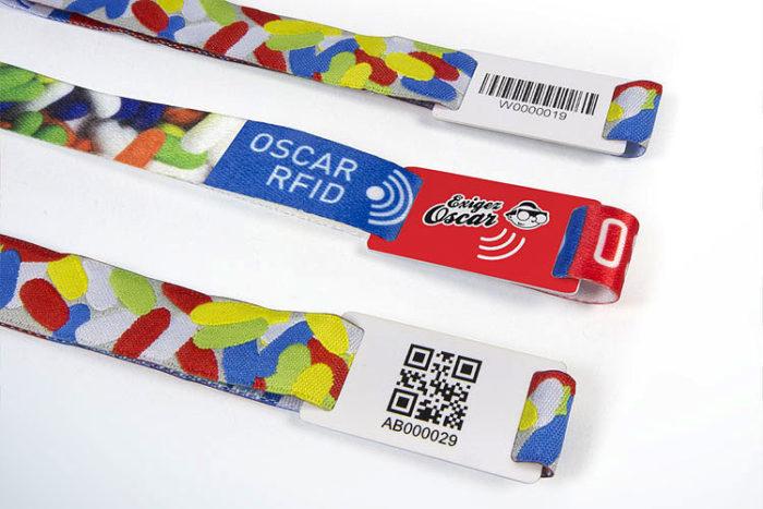 Bracelets avec passant PVC RFID, QR-Codes ou Code-barres